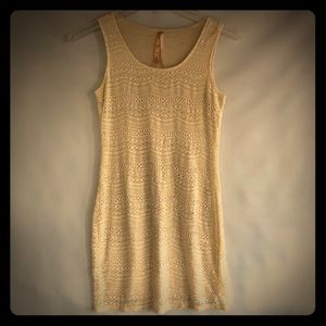 Mystree Anthropologie Cream Crochet Dress